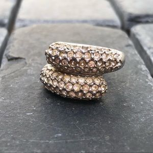 Crystal and silver ring